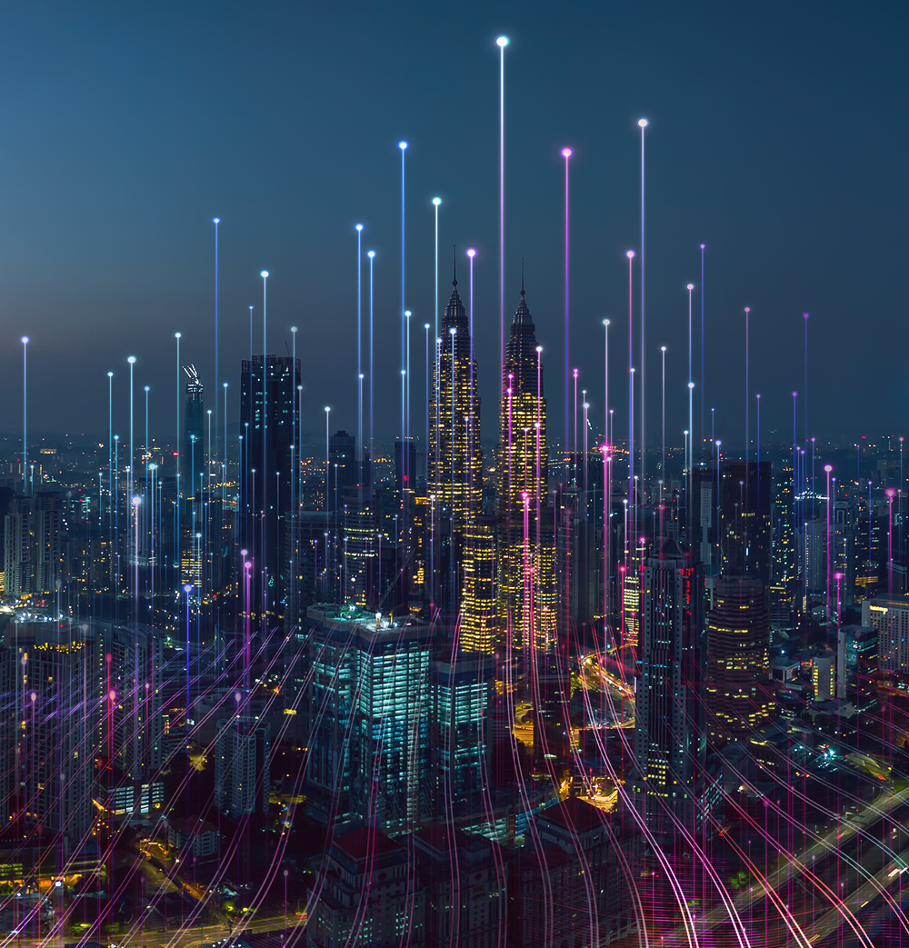 Photo of a city with data connectivity